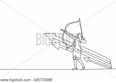 Continuous One Line Drawing Of Young Female Entrepreneur Take An Arrow Bow To Hit Target Goal. Succe