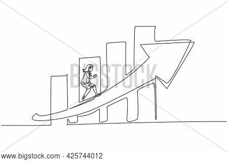 Continuous One Line Drawing Young Female Entrepreneur Running Fast At Increasing Arrow Symbol. Succe