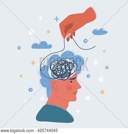 Vector Illustration Of Confused Man. Mess In Hand. Psychological Assistance
