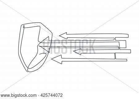 Continuous One Line Drawing Of Metal Shield Attacked By Arrows. Strong Defense Protection Minimalist