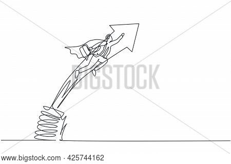 Single One Line Drawing Of Young Smart Male Employee Jumping And Flying With Metal Spring. Business