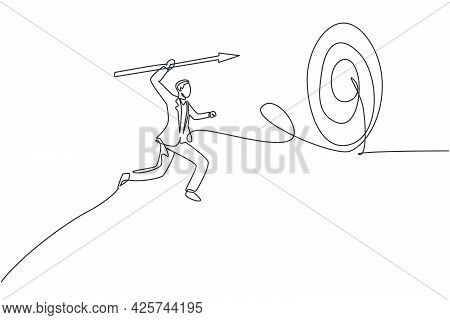Single Continuous Line Drawing Of Young Business Man Jumping To Hit Target Using Spear. Attractive P