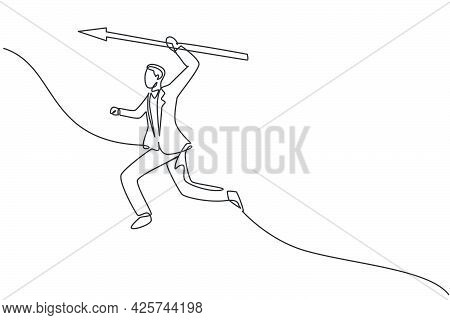 Single Continuous Line Drawing Of Young Business Man Jumping While Holding Spear To Stab. Fighting P