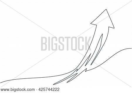 Single One Line Drawing Of Flying Up Arrow Symbol On The Sky. Business Finance Growth Graph Minimal