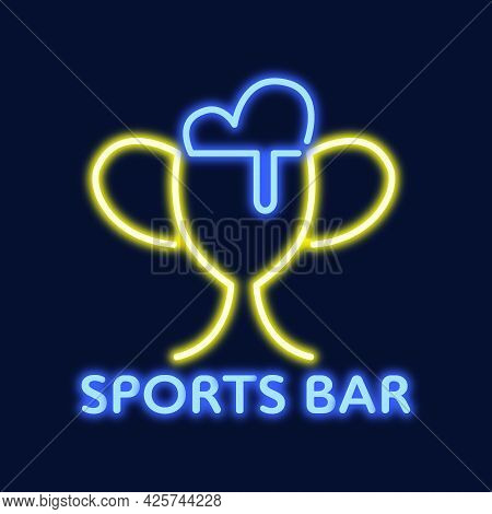 Vector Neon Logo Of A Sports Bar, Pub