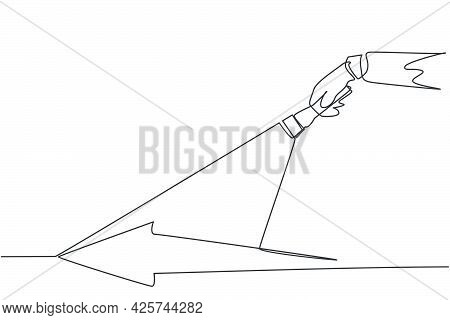 Single One Line Drawing Of Young Smart Male Employee Light The Arrow Path Way Using Flashlight. Busi