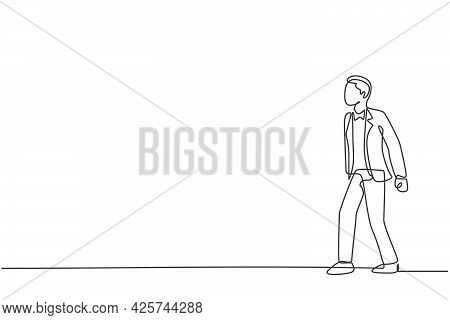 Continuous One Line Drawing Of Young Handsome Male Worker Thinking While Leisurely Strolling. Succes