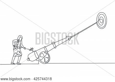 Continuous One Line Drawing Young Female Worker Focus Fire On Cannonball Weapon To Hit Business Targ