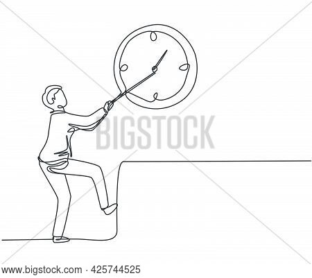 Continuous One Line Drawing Young Male Worker Pulling Clockwise Big Analog Clock On The Wall. Time M