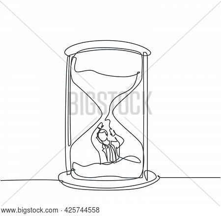 Single Continuous Line Drawing Young Business Man Buried Inside Sandglass And Asking For Help . Mini