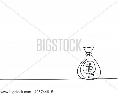 Single Continuous Line Drawing Of Bank Money Bag On The Floor. Minimalism Banking Economic Business
