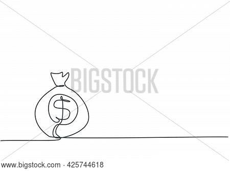 Single One Line Drawing Of Money Bag On The Floor With Penny And Paper Money Inside. Business Wealth