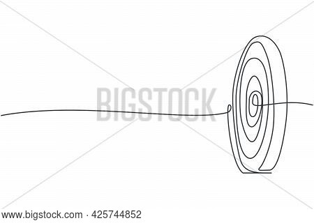 Continuous One Line Drawing Of Circle Target Dartboard. Focus And Concentration Exercise Sport. Busi