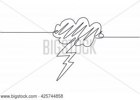 Single Continuous Line Drawing Of  Flashing Thunderbolt With Heavy Cloud In The Sky. Daily Natural W
