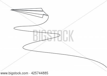 Continuous One Line Drawing Of Paper Airplane Flying Up To The Sky On White Background. Paper Aero P