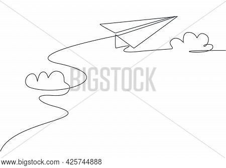 Single Continuous Line Drawing Of Paper Plane Flying Through The Clouds On White Background. Paper A