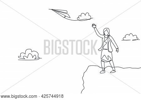 Single Continuous Line Drawing Of Young Business Woman Fly Paper Plane Up To The Sky. Professional E
