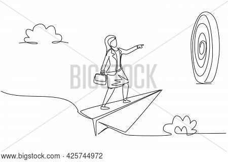 Continuous One Line Drawing Young Female Worker Focus Flying With Paper Plane To Hit Business Target