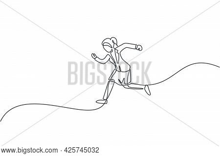 Single One Line Drawing Of Young Businesswoman Jumping High Up To The Sky. Business Leap Increasing.