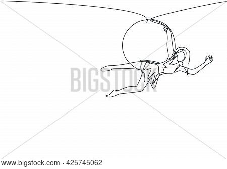 Single Continuous Line Drawing An Acrobatic Woman Who Performs On An Aerial Hoop By Hanging On To On