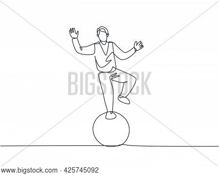 Continuous One Line Drawing A Male Acrobat Performs A Standing Stunt With One Foot On A Circus Ball
