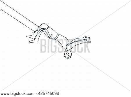 Single Continuous Line Drawing A Male Acrobat Performs On The Trapeze With His Legs Hanging And Head