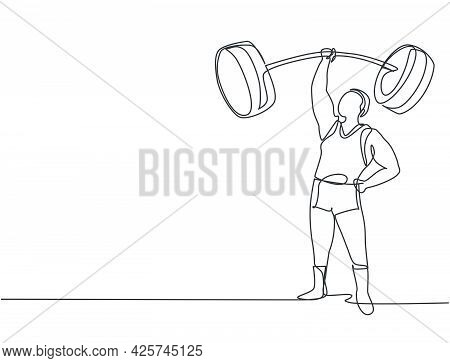 Single Continuous Line Drawing The Strongman Lifted The Curved Barbell With Only One Hand. His Muscl