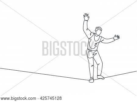 Continuous One Line Drawing A Male Acrobat Walking On A Rope While Dancing And Raising His Hands. Th