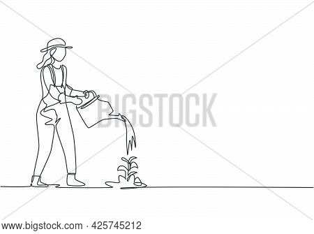 Single Continuous Line Drawing Young Female Farmer Water The Plants Using A Watering Can. Farmer Pla