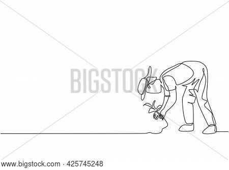 Single One Line Drawing Of Young Male Farmer Plant Crops In The Farm Fields. Professional Farmer. Fa