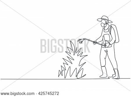 Single Continuous Line Drawing Young Male Farmer Complete With Mask Spraying The Green Plants With D