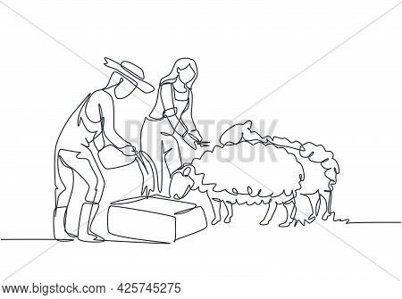 Continuous One Line Drawing Couple Farmer Are Feeding The Sheep So That The Sheep Will Be Healthy An
