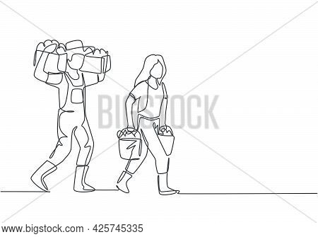 Continuous One Line Drawing Couple Farmer Carrying Boxes And Baskets Of Fruit In They Right And Left