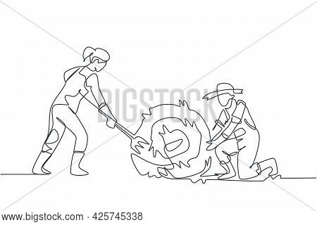 Single One Line Drawing Female Farmer Was Stabbing A Haystack And Rolling It With Straw Stick And Th