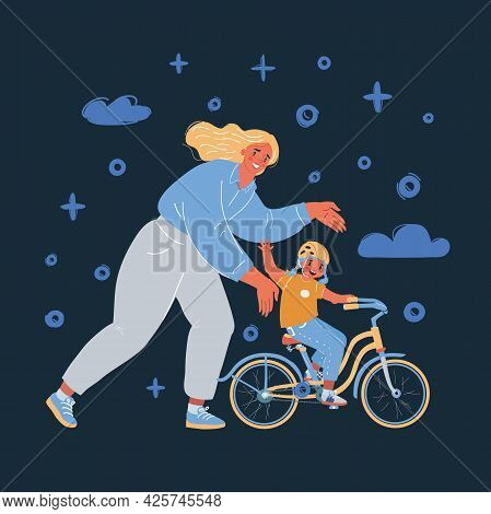 Vector Illustration Of A Mother Teaching Her Daughter How To Ride A Bike