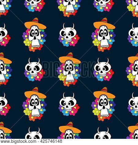 Seamless Pattern With Funny Skulls And Flowers. Drawn By Hand. El Dia De Muertos. Festive Vector Ill