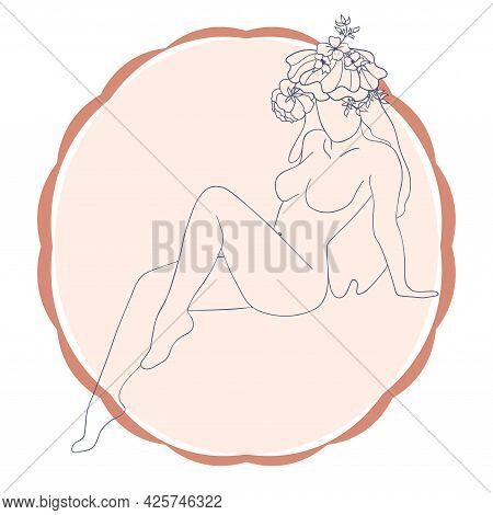 Woman Silhouette, Female Body, Body Positive, Cosmetic Concept With Flowers, Trendy Beige