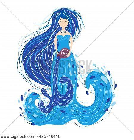 Zodiac, Aquarius Zodiac Sign Illustration As A Beautiful Girl With Braids. Vintage Zodiac Boho Style
