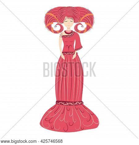 Zodiac, Aries Zodiac Sign Illustration As A Beautiful Girl With Braids. Vintage Zodiac Boho Style Fa
