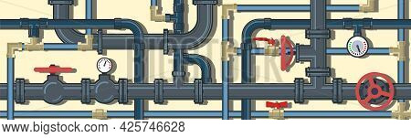 Pipeline System. Seamless Pattern. Horizontal Position. Background Picture. Vector