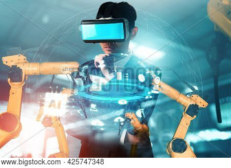 Future Vr Technology For Mechanized Industry Robot Arm Control . Concept Of Robotics Technology For