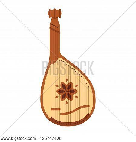 Bandura, Traditional Ukrainian Folk Musical Instrument. Simple Flat Vector Style Illustration.