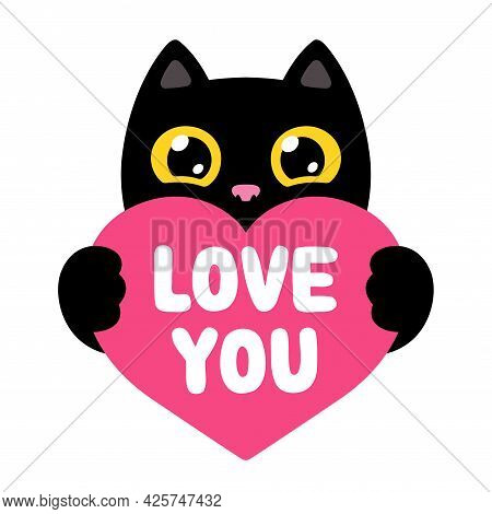Funny Cartoon Black Cat Holding Red Heart Saying Love You. Cute Valentine Kitty Drawing, Vector Illu
