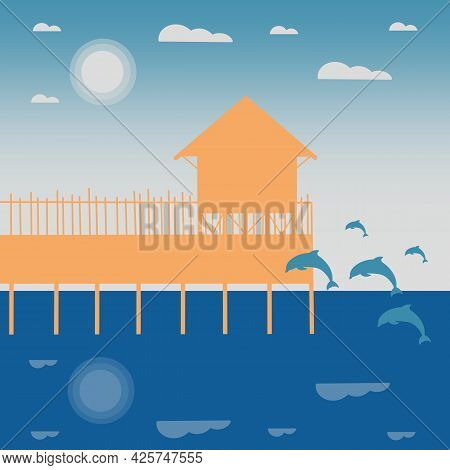 Ocean Front Bungalow With Jumping Dolphins In The Sea Flat Illustration