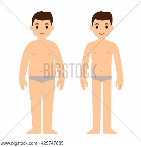 Cute Cartoon Man In Underwear, Fat And Slim. Weight Loss Before And After. Simple Flat Vector Illust