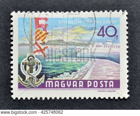 Hungary - Circa 1968 : Cancelled Postage Stamp Printed By Hungary, That Shows Ship On Lake Balaton A