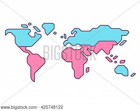 Simplified World Map With Global North And Global South Divide. Modern Flat Vector Infographic, Clip