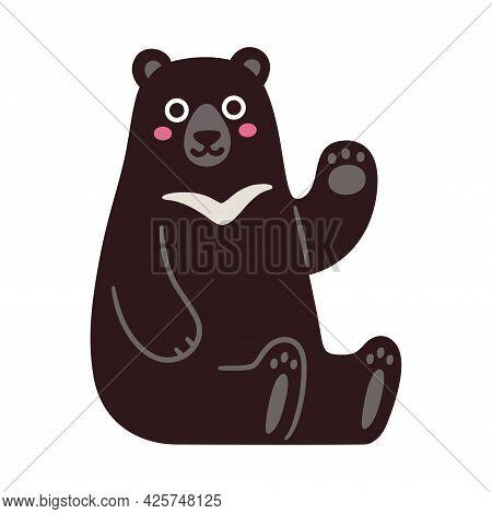 Asian Black Bear, Or Moon Bear, Sitting And Waving. Cute Cartoon Character, Funny Kawaii Mascot. Iso