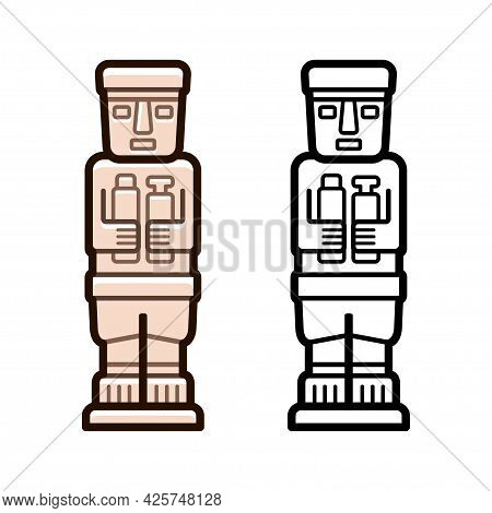 Ponce Monolith, Stone Statue From Tiwanaku, Bolivia. Color And Black And White Vector Icon.