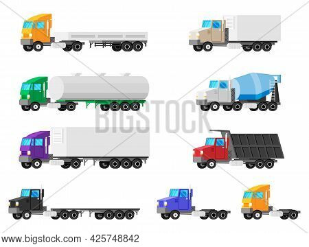 Set Of Trucks Isolated. Cargo Car Icon Collection. Various Transportation Vehicles. Construction Lor
